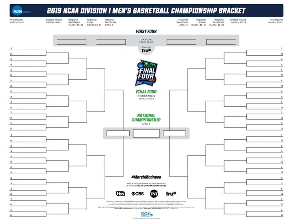 The Ncaa Bracket For The 2019 March Madness Men S Basketball