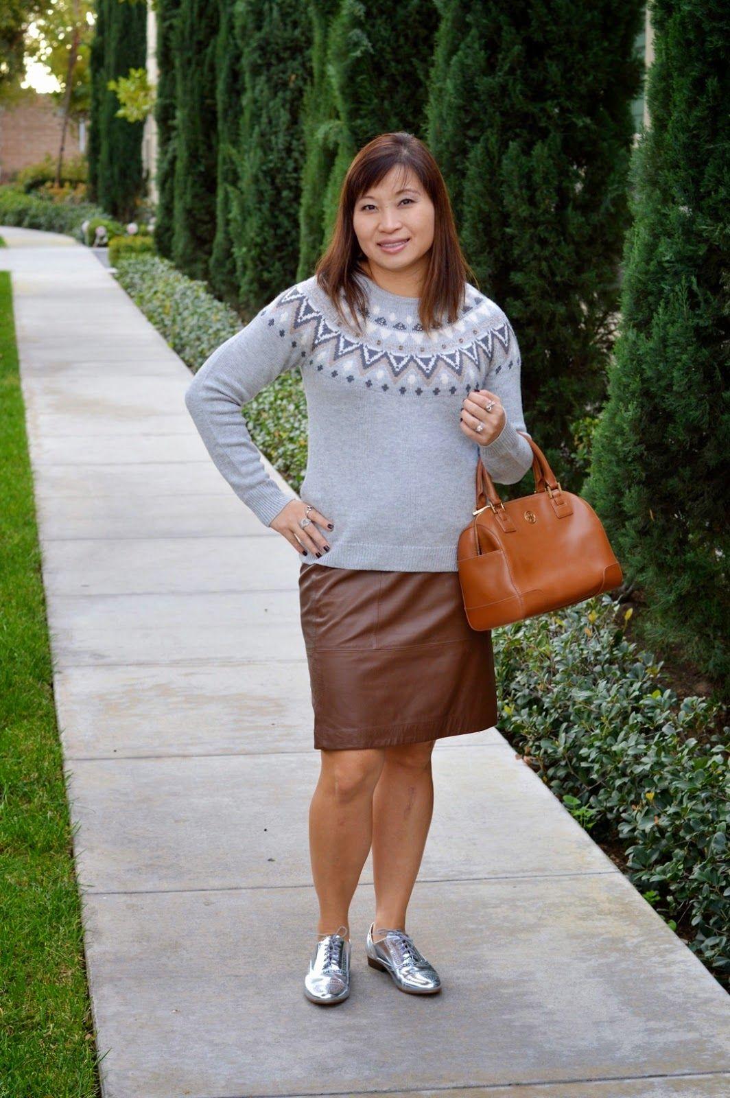 over 40 fashion blogger, ann taylor fair isle sweater, banana ...