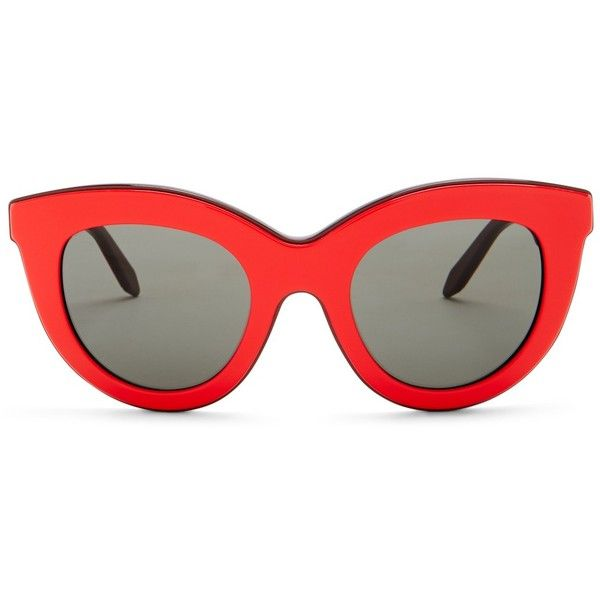Victoria Beckham Women's Layered Cat Eye Sunglasses (€115) ❤ liked on Polyvore featuring accessories, eyewear, sunglasses, glasses, shades, red on metallic dark rose, red lens glasses, red cat eye glasses, cat eye sunglasses and dark lens sunglasses