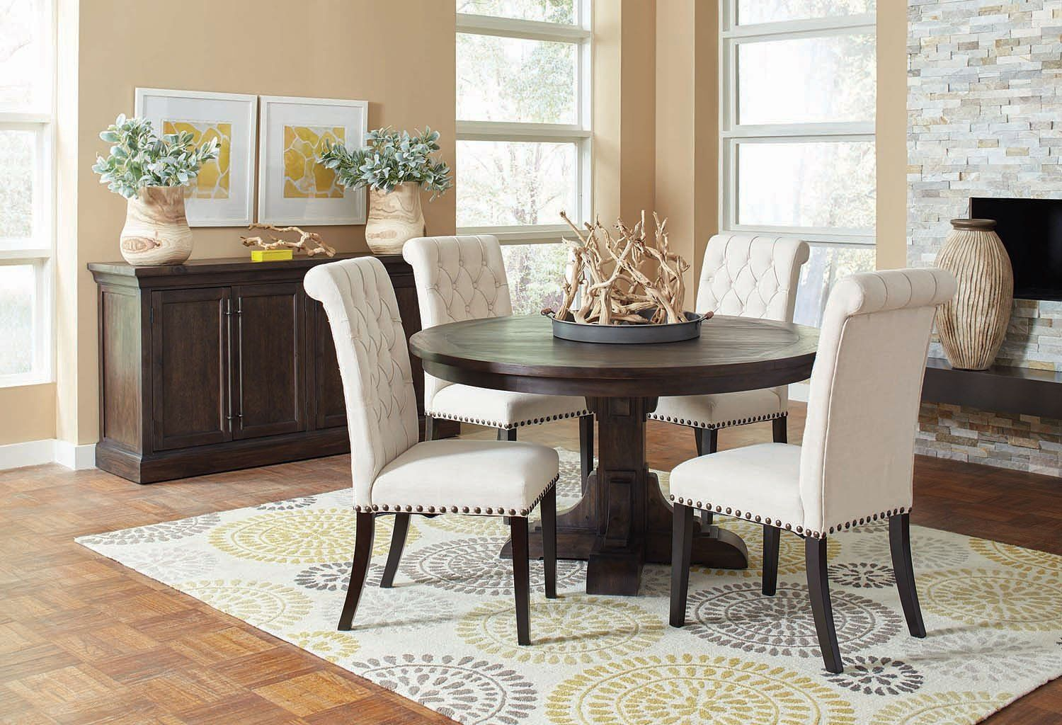 Weber Round Dining Room Set W Cream Chairs Round Dining Room Sets Round Dining Room Round Dining Table
