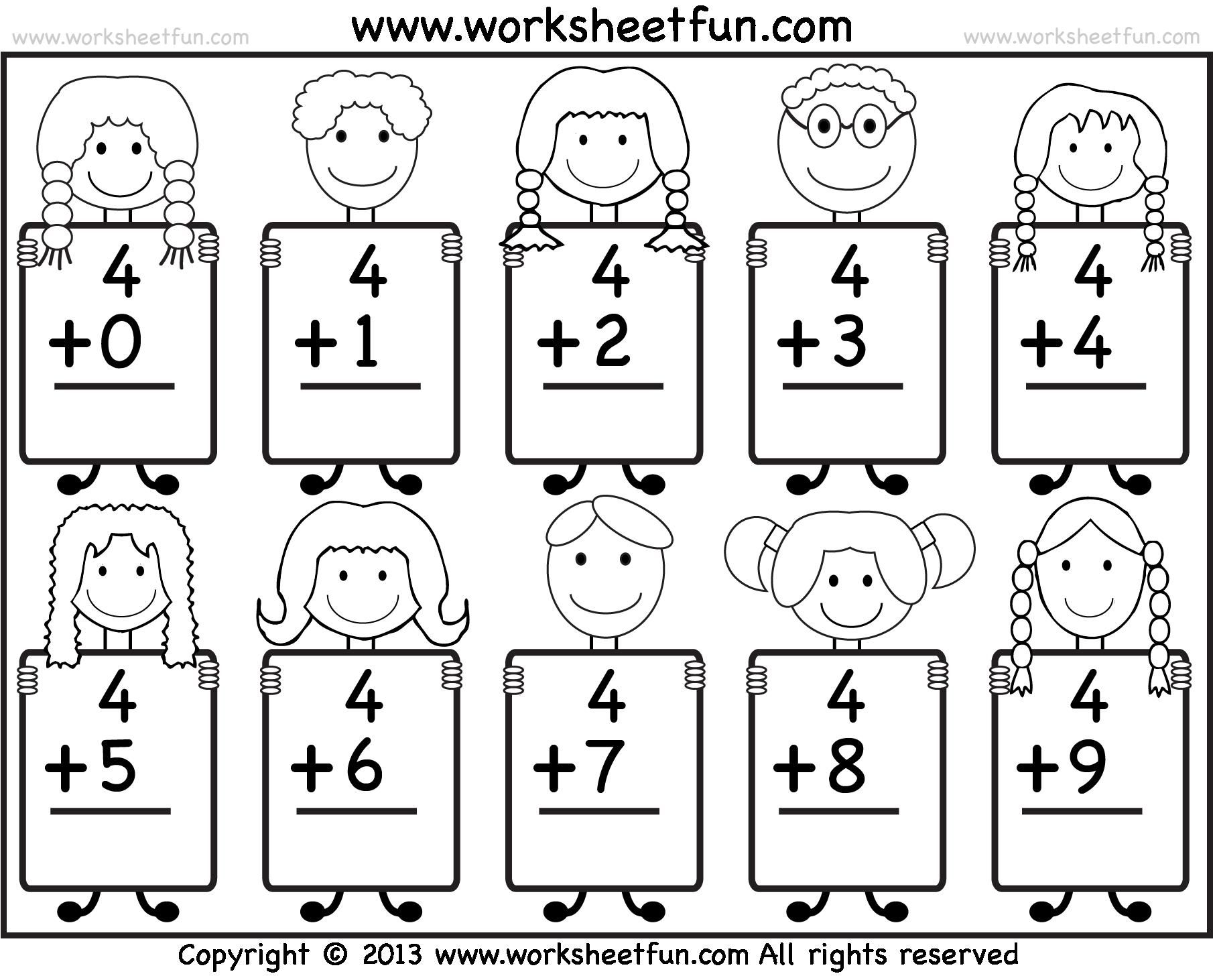 Fine Free Printable Math Addition Worksheets For