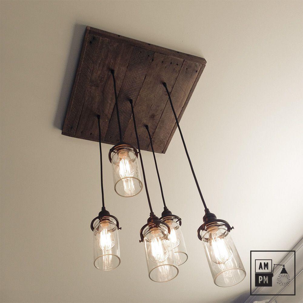 luminaire rustique avec 5 descentes sur fil aux longueurs vari es compl t avec des cylindres. Black Bedroom Furniture Sets. Home Design Ideas