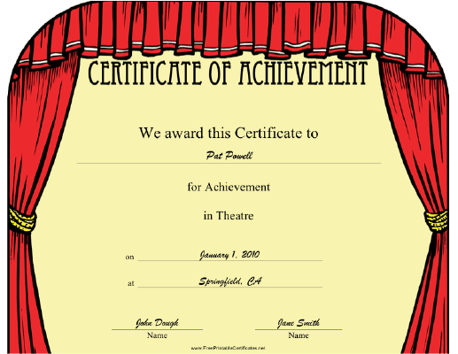 This theatre achievement certificate features a frame of theatre this theatre achievement certificate features a frame of theatre curtains present to an outstanding actor yadclub