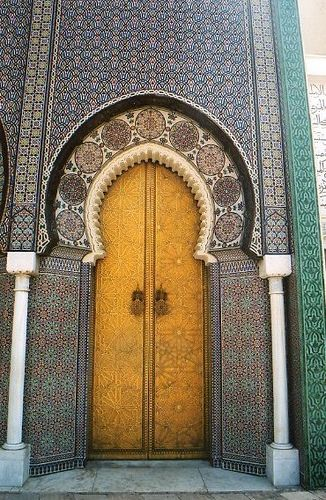 Nice An Intricately Tiled Mosque Door U0026 Walls In Fez, Morocco.