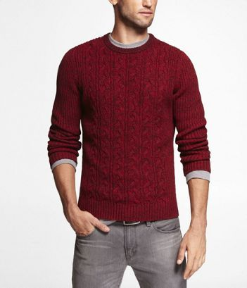CABLE KNIT CREW NECK SWEATER | Express | $88 | Look-Book for a ...