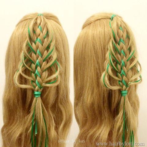 Loop Braided Christmas Tree Hairstyle Christmas Tree Hair Hair Styles Christmas Hairstyles