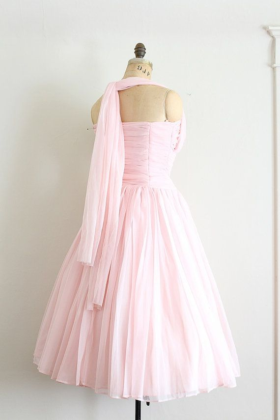 vintage 1950s dress // 50s pink prom dress // by TrunkofDresses