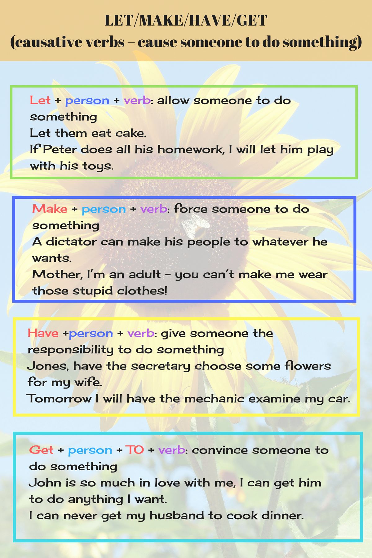 Causative Verbs in English: Let, Make, Have & Get   English verbs, Learn english, English phrases