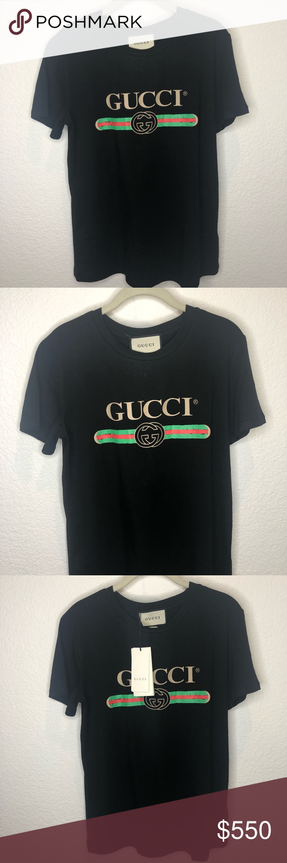 74572dab8 Gucci Distressed printed cotton-jersey T-shirt Size large. Never worn.  Perfect condition. Gucci Tops Tees - Short Sleeve