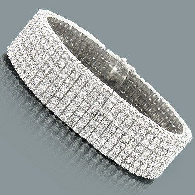 Row Diamond Bracelet for Men 1 50ct Sterling Silver