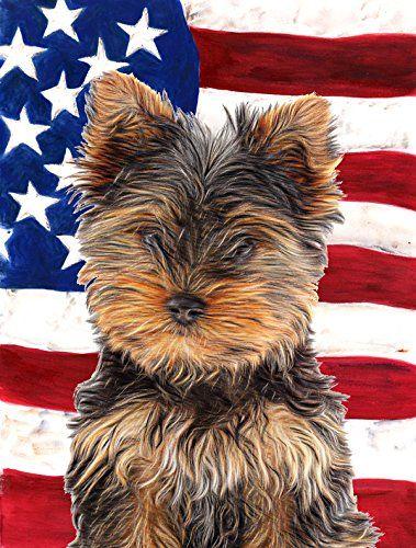 Amazon.com : USA American Flag With Yorkie Puppy / Yorkshire Terrier Flag  Garden Size KJ1160GF : Patio, Lawn U0026 Garden