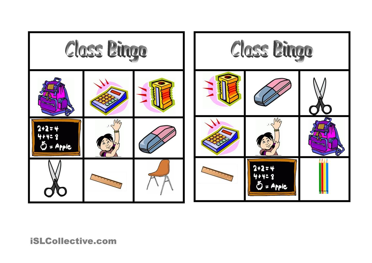 Bingo Classroom Vocabulary