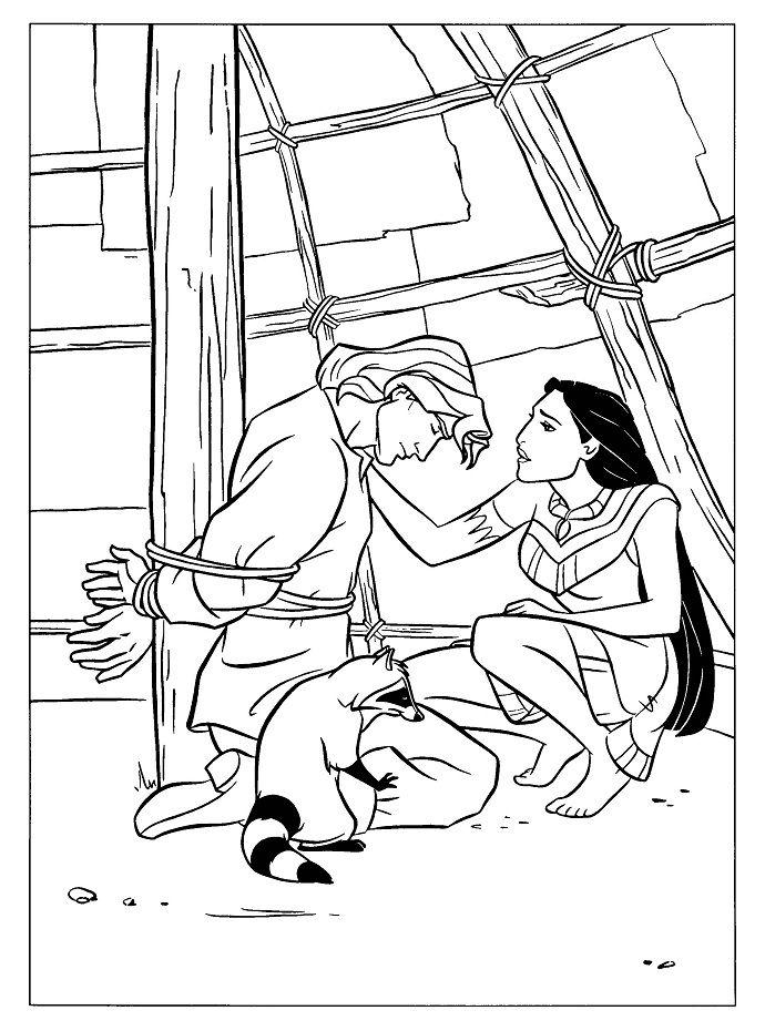 Pocahontas Saving John Smith Coloring Pages | Movie Princesses ...