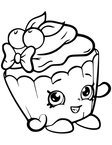 Cherry Nice Cupcake Shopkin coloring page | Free Printable ...