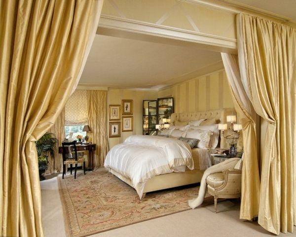 Schlafzimmer mit goldenen Gardinen Love color Pinterest Room - gardinen für schlafzimmer