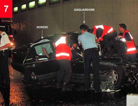 Post crash. Note blood on car door. It's outside!