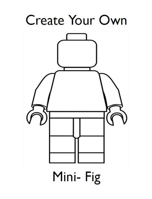 Draw your own lego minifigures birthday party for Lego figure coloring page