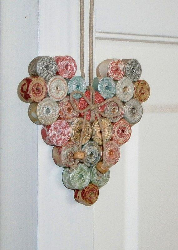 Morceau de papier enroulé ornement coeur recyclé et   – adoro!!!