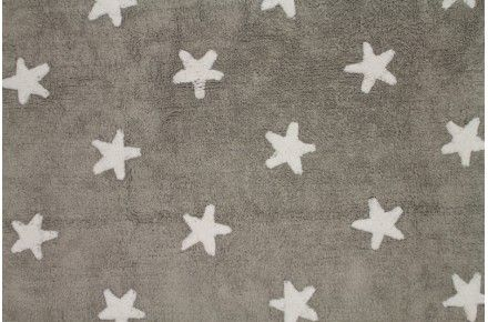 GREY STARS WHITE - Lorena Canals - Alfombras infantile Washable rug