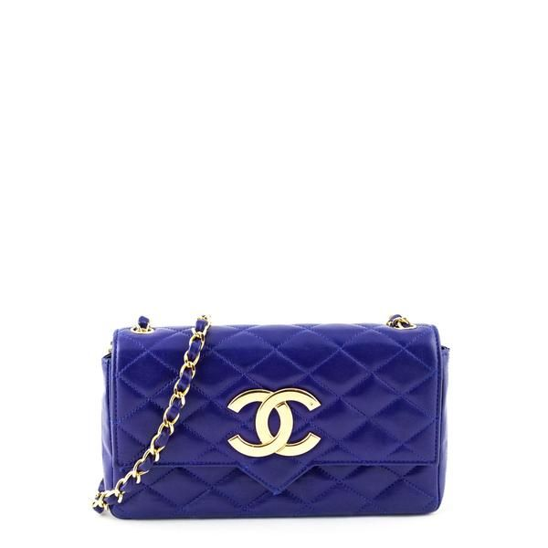 Chanel Blue Lambskin Quilted Vintage Pointed Flap bag