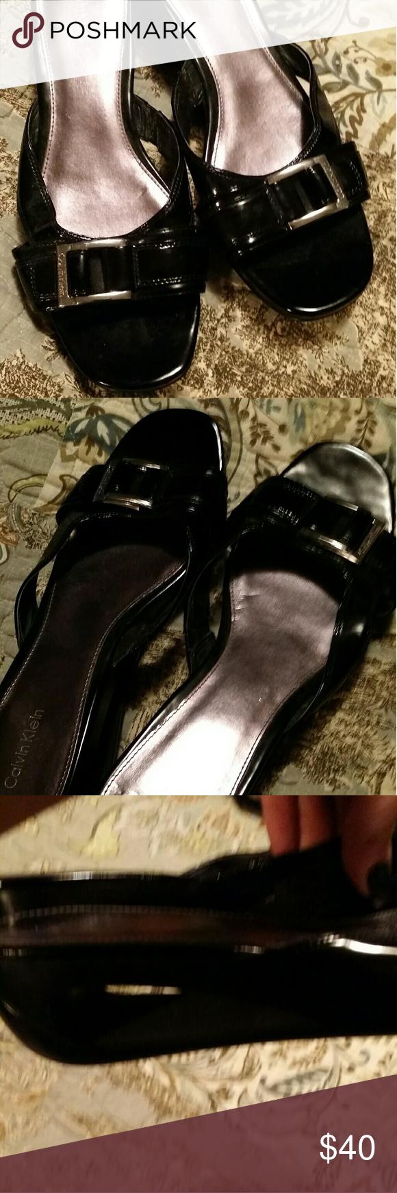 Calvin Klein patent sandals 9 Calvin Klein patent wedge sandals 9 Calvin Klein Shoes Slippers