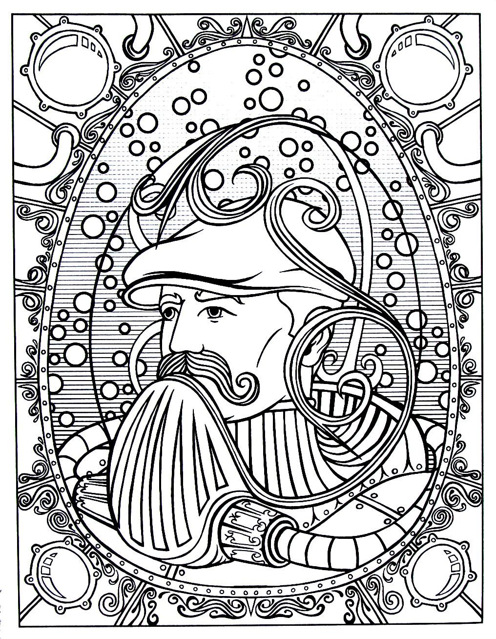 Steampunk mask contraption printable coloring book page | Coloring ...