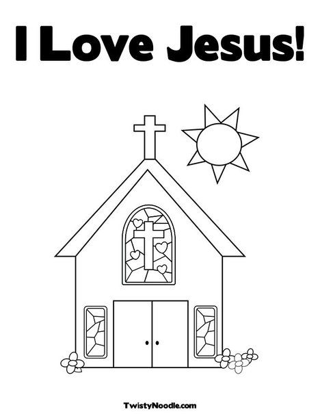 EXTRA IDEA Church With Stained Glass Window Coloring Page Cut The Doors So That They Open And Then Glue A Picture Of Jesus As Boy Kids Can