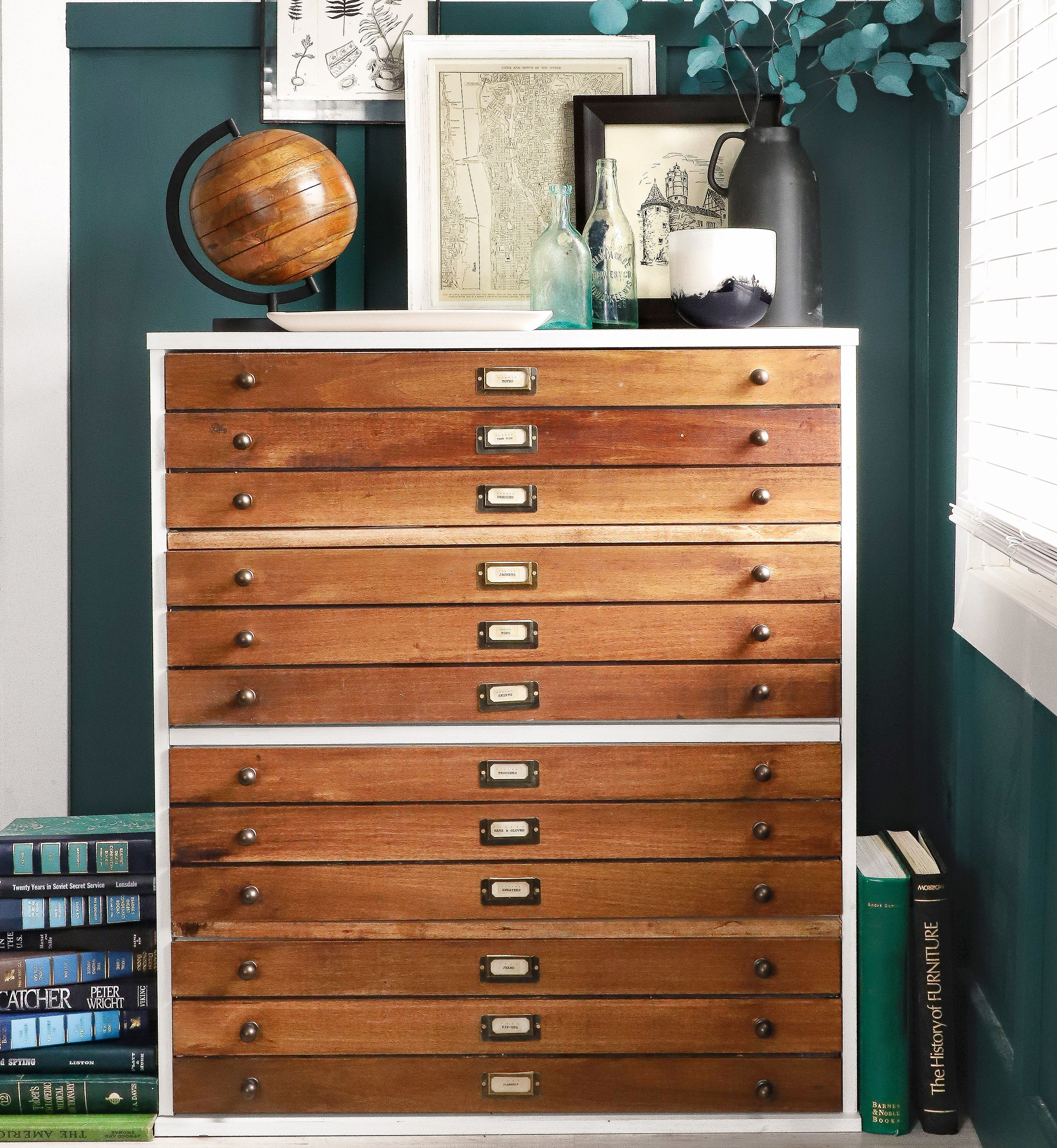 Before And After Diy Map Drawer Dresser Map Drawers Dresser Drawers Diy Drawers