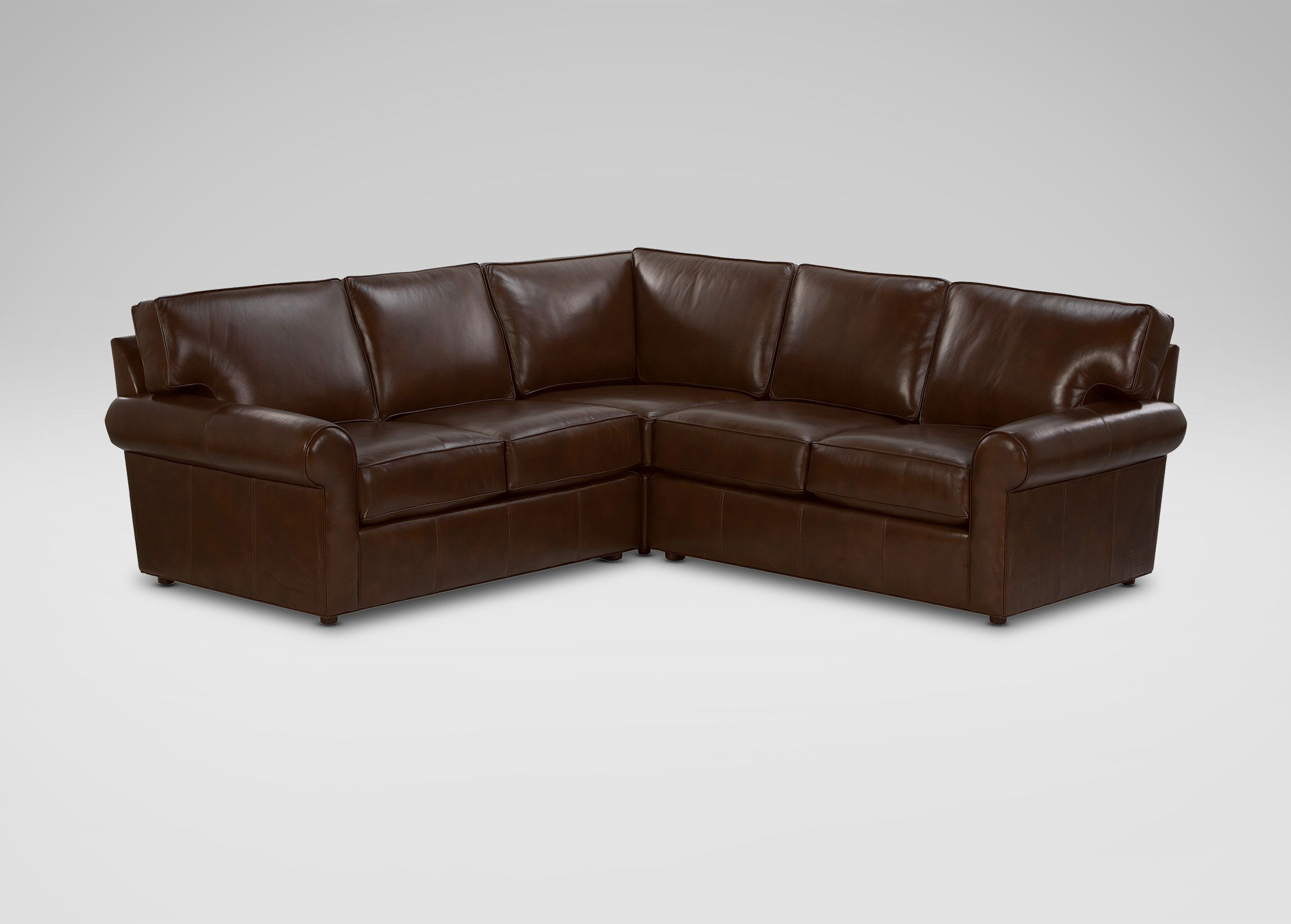 Retreat Roll Arm Leather Sectional Ethan Allen