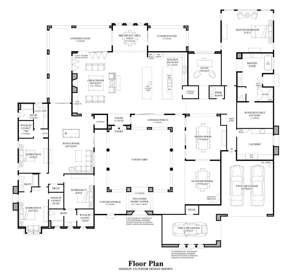 Luxury New Homes In Scottsdale Az Mansion Floor Plan Courtyard House Plans Bedroom House Plans