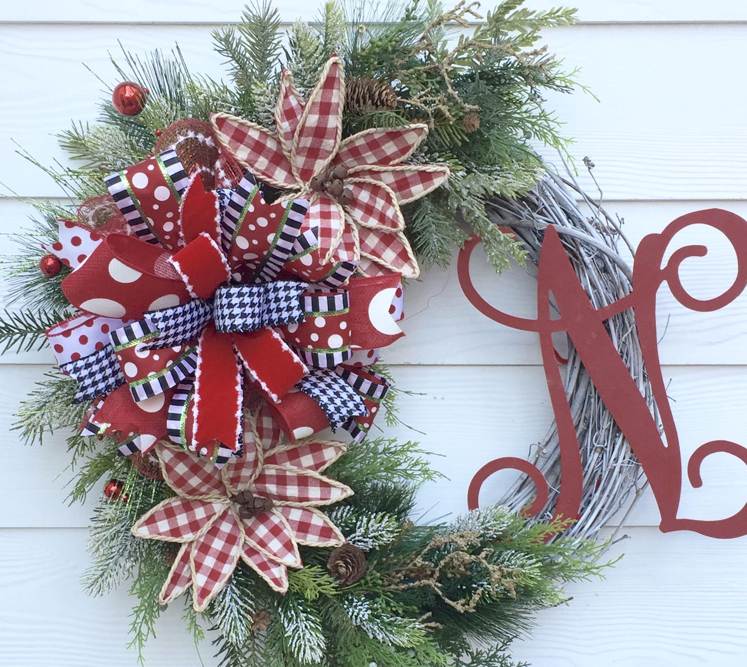 Monogram Christmas Wreath, Christmas Wreath, Red Wreath