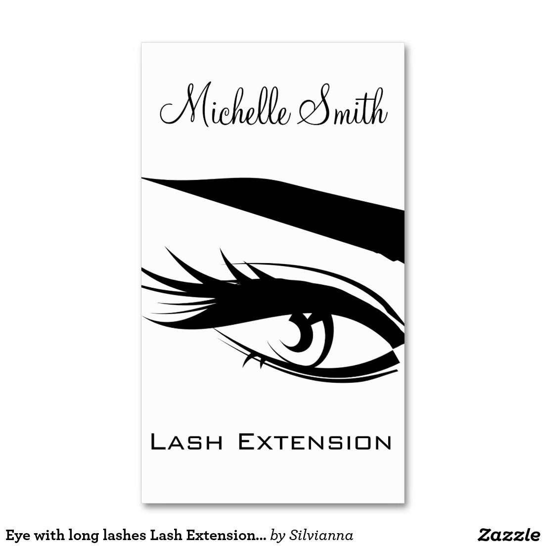 eye with long lashes lash extension business card business card templates - Eyelash Extension Business Cards