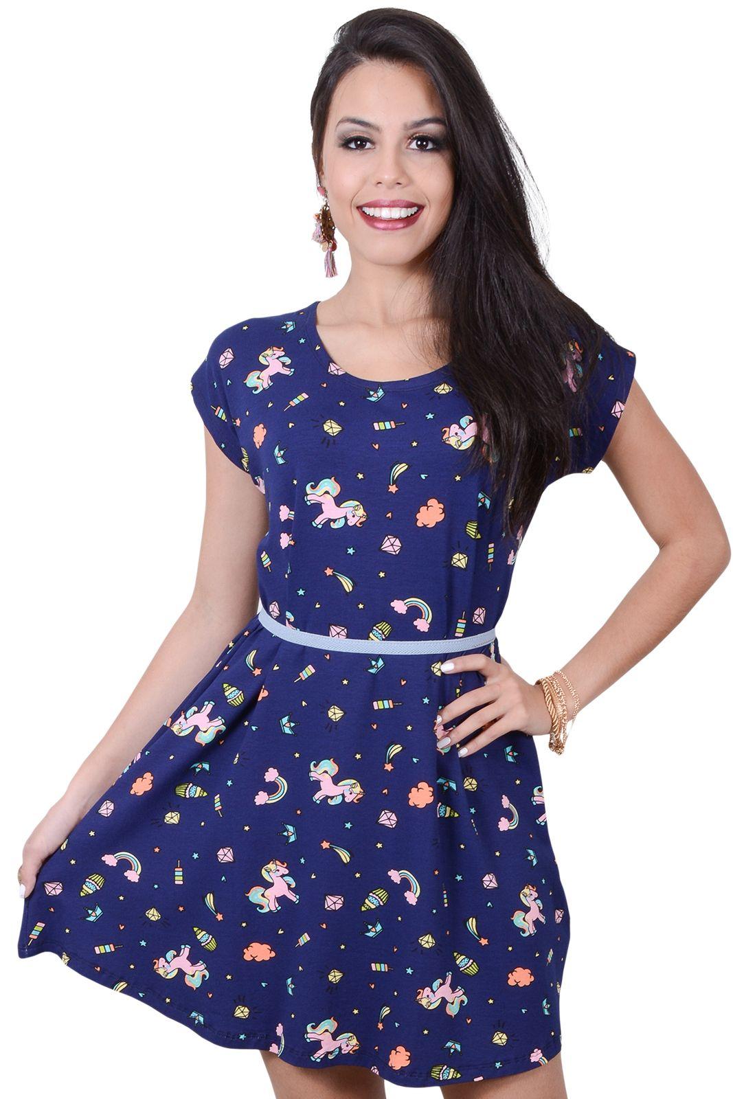 35c928d3da7c Vestido Gório Curto Estampado Azul-Marinho   Products em 2019   Azul ...
