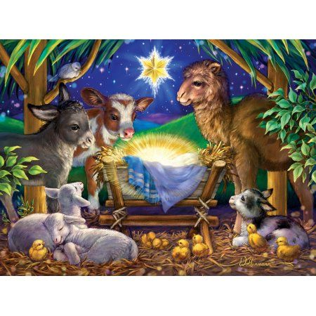 Vermont Christmas Company A Child is Born - 550 Piece Jigsaw Puzzle