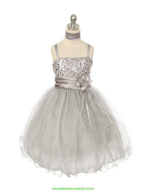 flower girl dresses | FLOWER GIRL *Silver Sequence Mesh Illusion Flower Girl Dress