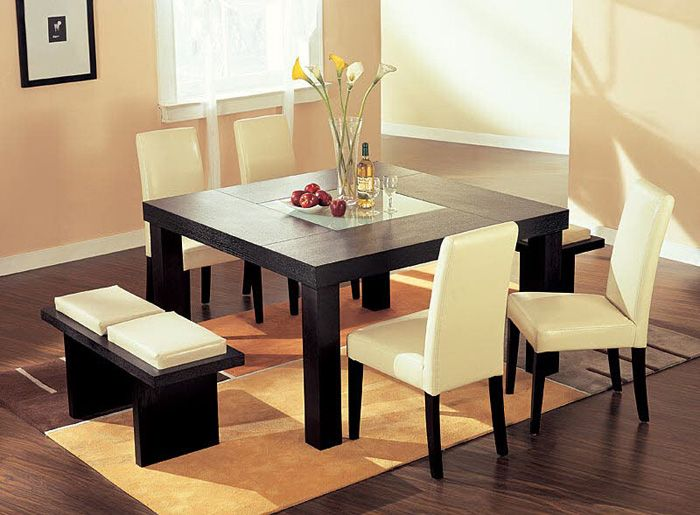 Modern Dining Room Table with Bench - http://quickhomedesign.com/modern-dining-room-table-with-bench/?Pinterest