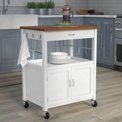 Kibler Kitchen Island Cart with Natural Butcher Block Bamboo Top