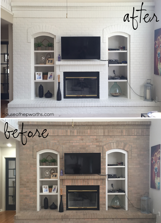 Stunning Fireplace Makeover With Paint Brick Fireplace Wall Brick Fireplace Fireplace Wall