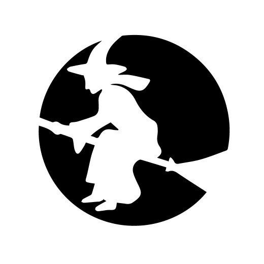 This pumpkin-carving pattern shows a witch flying on her broomstick ...