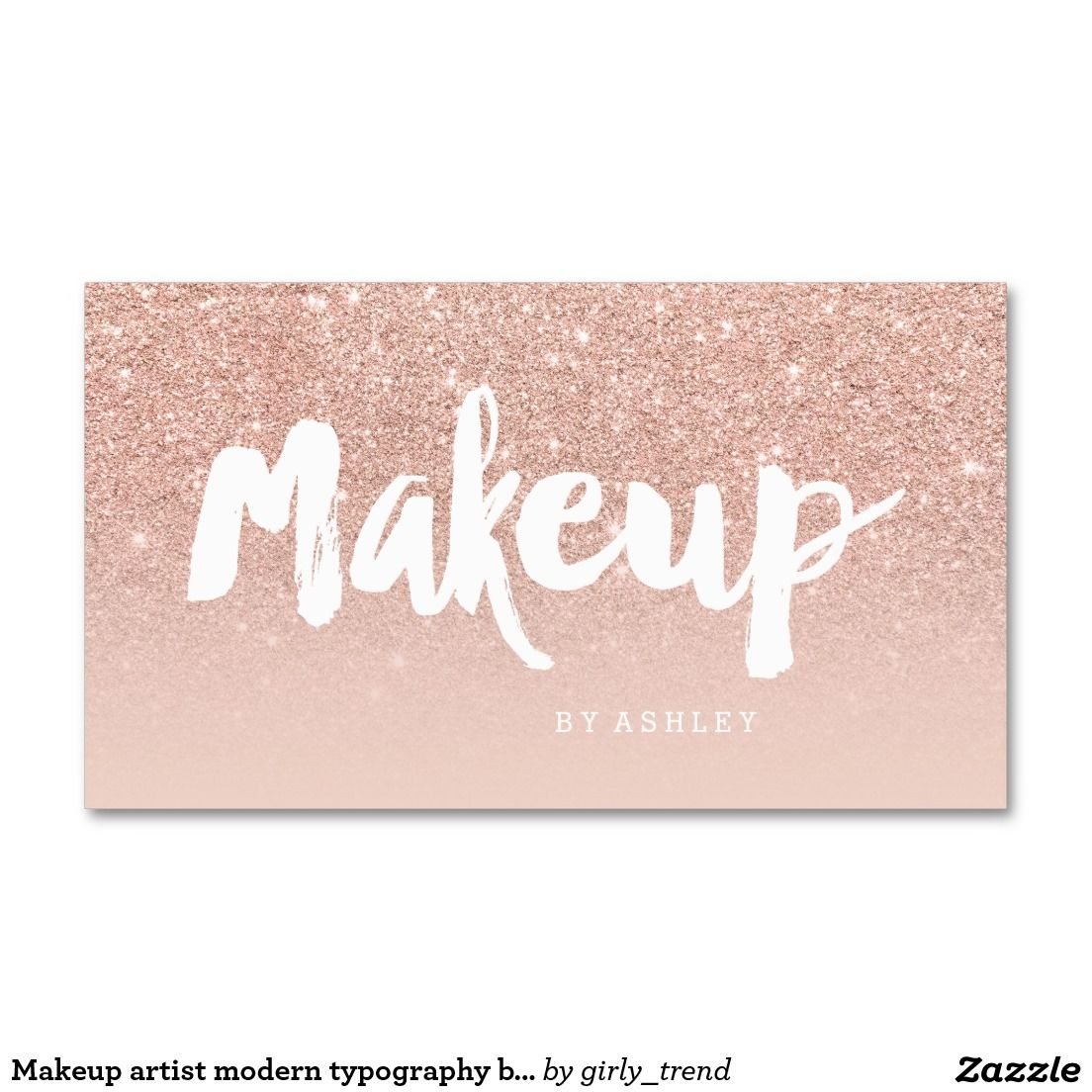 8e98f4228a99b Makeup artist modern typography blush rose gold business card ...