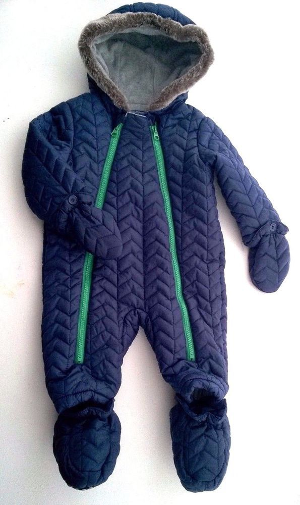 98f288d9c5b3 Baby Boys Navy Quilted Snowsuit 6-9 months Removable Mitts   Bootees ...
