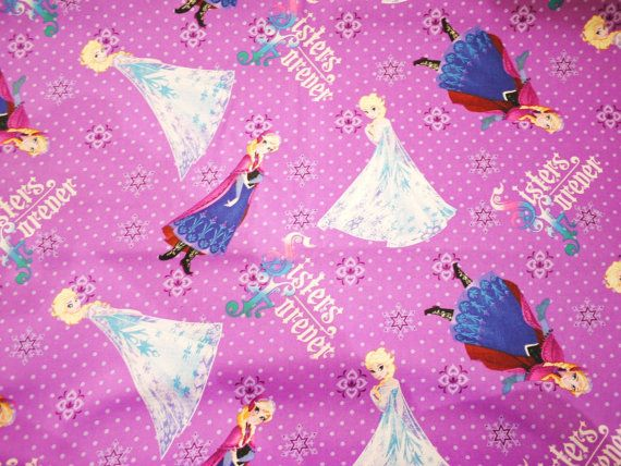 Fat Quarter Disney Frozen Sisters Skating Framed Cotton Sewing Quilting Fabric
