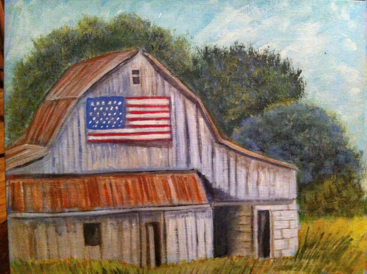primitive country decor canvas painting of rustic farm Rustic Country Paintings id=62215