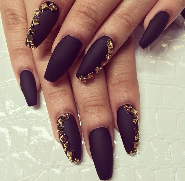 Black coffin nail with gold bling! | Nails | Pinterest | Coffin ...