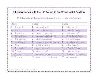Ms. Lane\'s SLP Materials: Articulation: Silly Sentences with the \