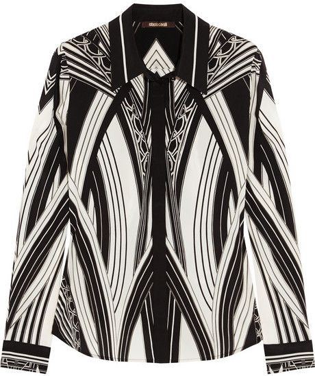 Roberto Cavalli Chicago printed stretch-silk shirt on shopstyle.com