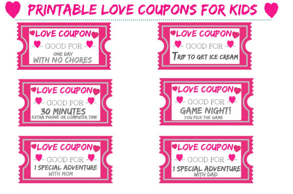 Free Printable Love Coupons For Kids For Valentine S Day In 2021 Love Coupons Valentines For Daughter Fun Coupons