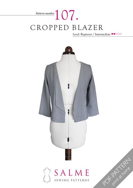 Sewing Pattern for cropped blazer. Suitable for beginners. | my ...