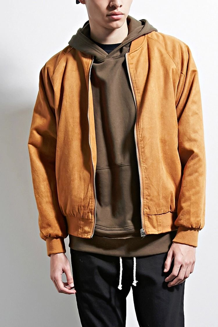 A Padded Faux Suede Bomber Jacket By Eptm Trade Featuring Long Raglan Sleeves Ribbed Knit Trim Front Jetted Pocke Menswear Suede Bomber Jacket Bomber Jacket [ 1125 x 750 Pixel ]