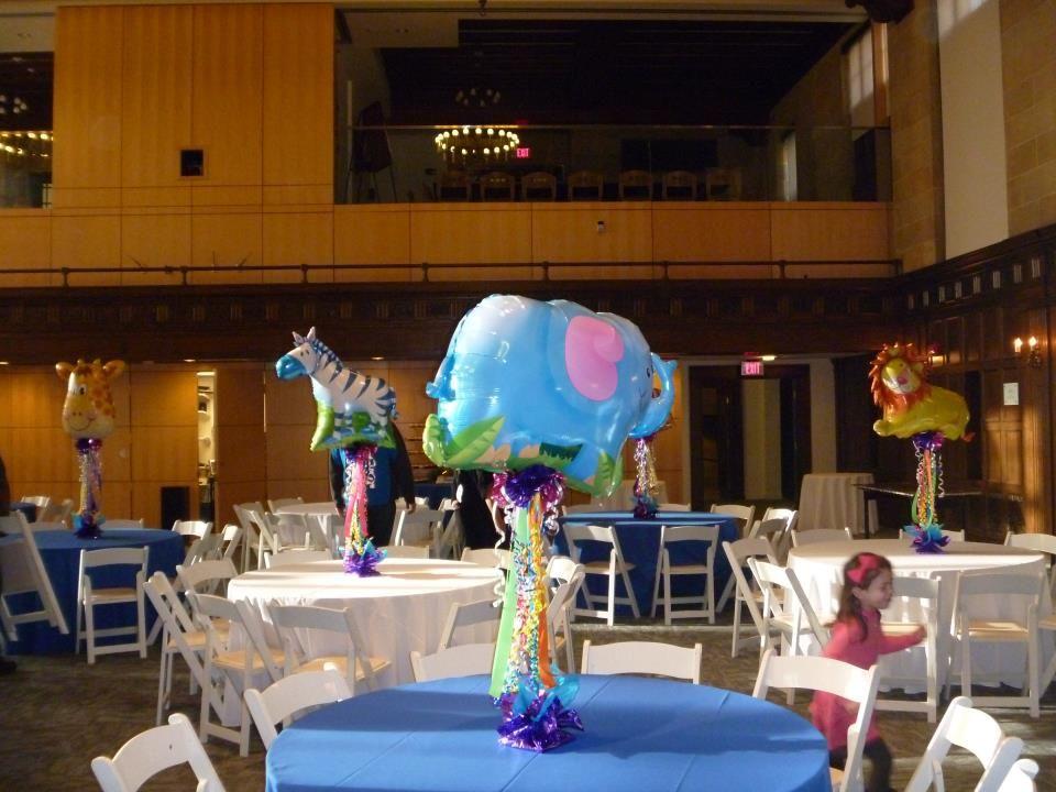 Circus theme party with animal balloon topiary